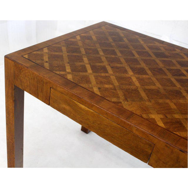 1960s Italian Parquet Marquetry Burl Walnut Top Parsons Desk Writing Table Two Drawers For Sale - Image 5 of 10