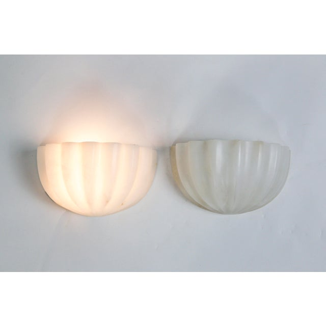 Vintage Carved Alabaster Shell Sconces by Boyd - a Pair For Sale - Image 11 of 11