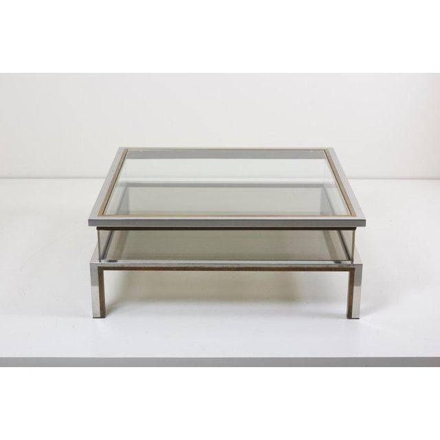 1970s Maison Jansen Sliding Top Coffee Table in Brass and Chrome For Sale - Image 5 of 9