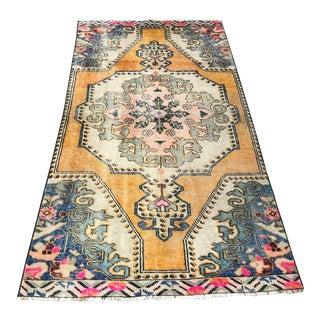 1960s Vintage Turkish Oushak Wool Rug - 3′6″ × 6′10″ For Sale