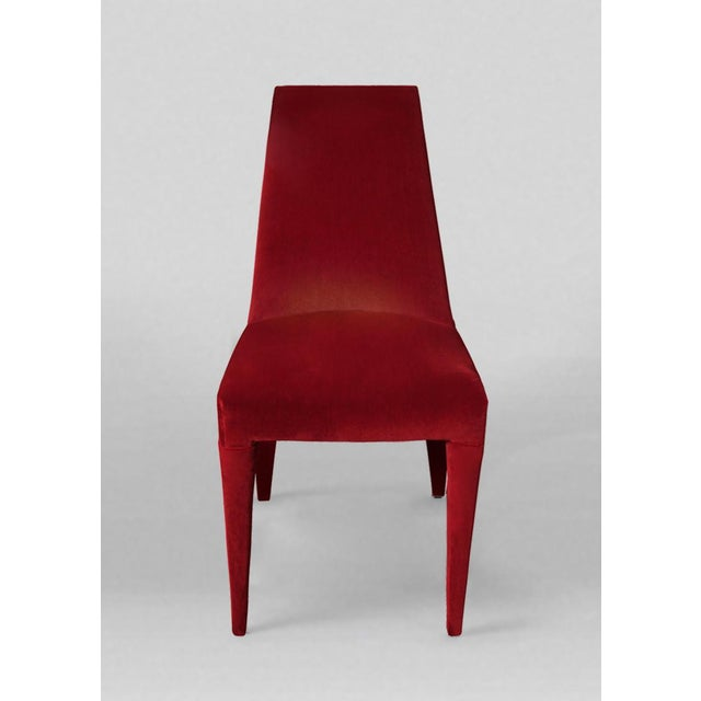 Art Deco 1970s Vintage Stiletto Velvet Dining Chairs - Set of 8 For Sale - Image 3 of 5