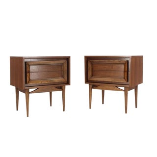 Pair of Two-Drawer Mid-Century Modern Walnut Nightstands