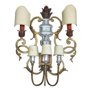 Rare, Iconic Large French, 1940s Wall Sconce by Maison Baguès