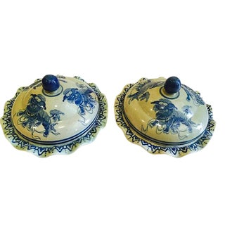 Antique Chinese Porcelain Bowls With Lids Foo Dogs Celadon Cobalt Blue - a Pair