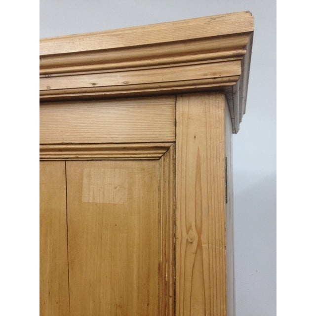 Pine Antique Unpainted Rustic Pine Armoire For Sale - Image 7 of 11