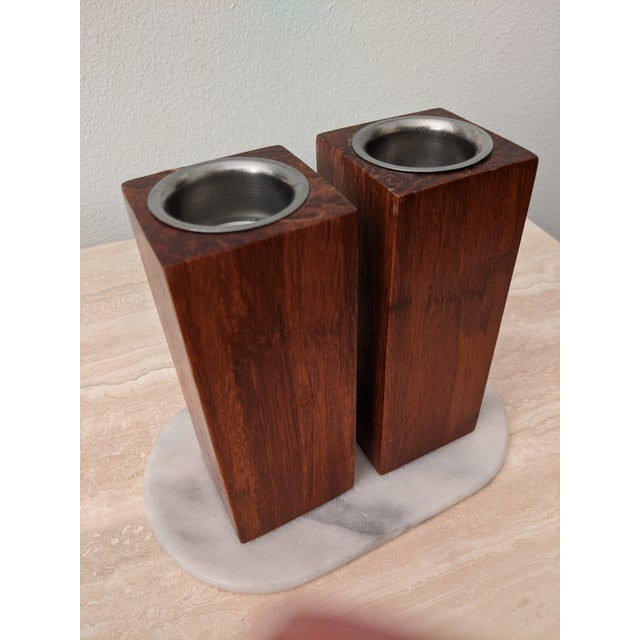 Organic Modernist Minimalist Wood Block Tealights, a Pair For Sale - Image 10 of 10