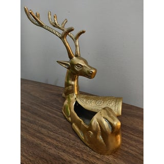 Hollywood Regency Brass Seated Deer Trinket Box Preview