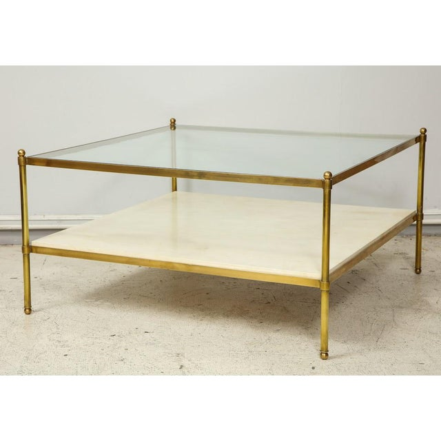 Parchment and Bronze Coffee Table With Glass Top For Sale - Image 11 of 11