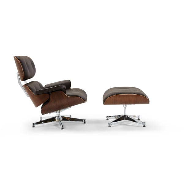 Animal Skin Pasargad's Florence Brown Leather Lounge Chair & Ottoman For Sale - Image 7 of 9