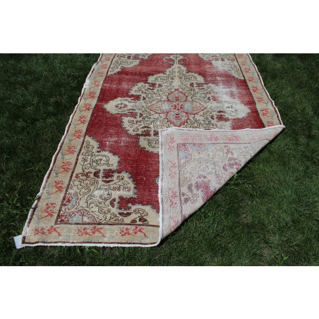 Red Vintage Turkish Anatolian Handmade Home Decorative Red Color Area Size Rug- 5′7″ × 8′3″ For Sale - Image 8 of 9