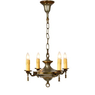 Early 20th Century Four Arm Pan Chandelier For Sale