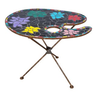 1960s Italian Multicolored Biomorphic Ceramic Top Side Table For Sale