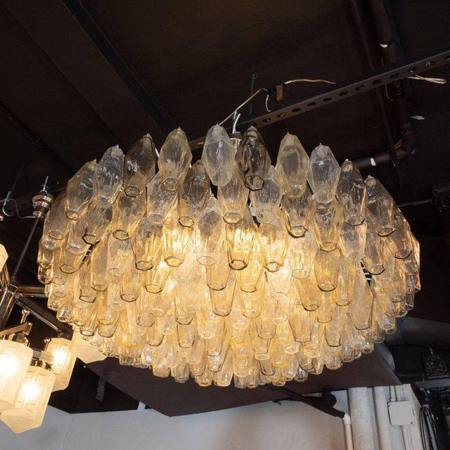 Transparent Modernist Polyhedral Chandelier in Topaz, Citrine & Clear Handblown Murano Glass For Sale - Image 8 of 9