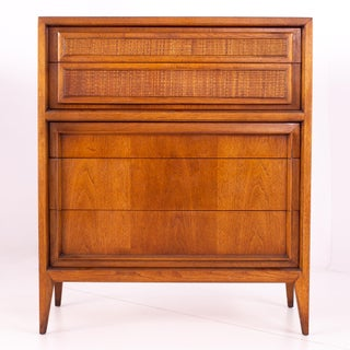 Century Furniture Mid Century Walnut and Cane 5 Drawer Highboy Dresser Preview