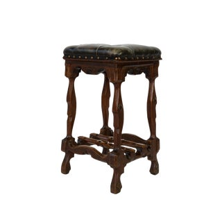 Arts and Crafts Period Square Stool Upholstered in Tufted Dark Leather, English, Circa 1880 For Sale