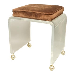 1970s Vintage Thick Slumped Waterfall Lucite Vanity Bench Stool For Sale