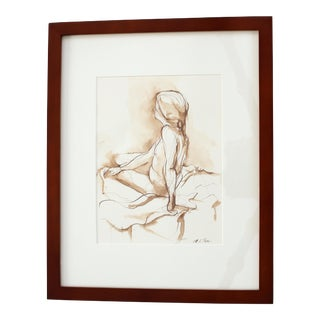 "Original Framed Brown Ink Drawing ""Female Nude With Braid"" by Michelle Arnold Paine For Sale"