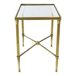 Italian Brass and Glass End or Side Table in the Style of Maison Jansen For Sale