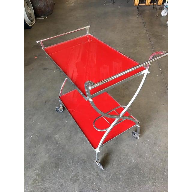 Jacques Adnet Jacques Adnet Inspired Chromed Aluminum Bar Cart, 1960 For Sale - Image 4 of 7