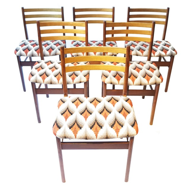 Danish Modern Teak & Beech Chairs - Set of 6 - Image 1 of 7