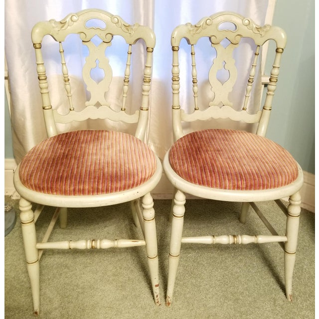 Vintage Petite Green Painted Side Chairs- a Pair For Sale - Image 6 of 6