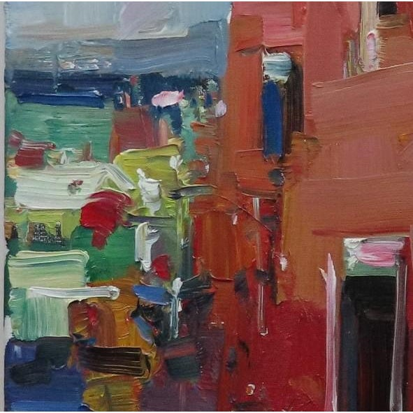 """Contemporary Jose Trujillo 14"""" Square Oil Painting Red House Village Street New Art For Sale - Image 3 of 5"""