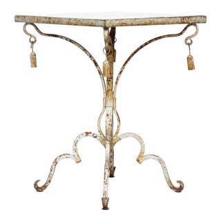 19th Century Italian Wrought Iron Tiled Table For Sale