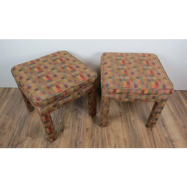 1980s Vintage Multicolor Parsons Stools - a Pair For Sale - Image 9 of 13