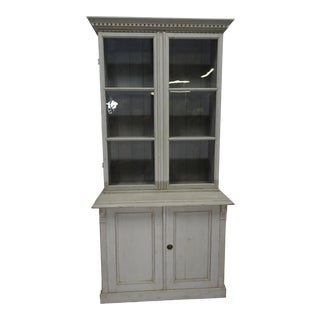 Swedish Gustavian Glass Top Hutch For Sale