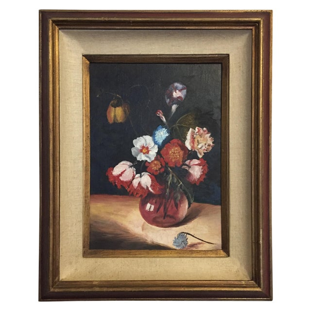 Vintage Floral Still Life Oil Painting - Image 1 of 10