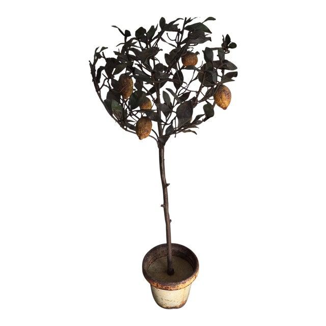Antique Italian Lemon Tole Topiary Tree For Sale