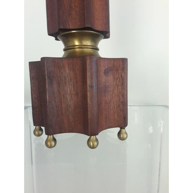 Art Deco Single Wood & Brass Lamp For Sale In West Palm - Image 6 of 7