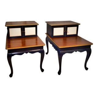 Queen Anne Two Tiered Mid-Century Modern End Tables - a Pair