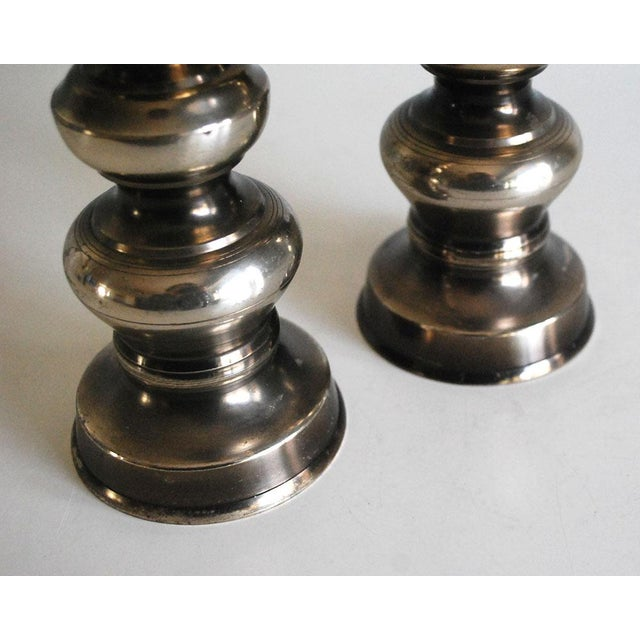 Asian 1960s Silver Plated Brass Candle Holders - A Pair For Sale - Image 3 of 8
