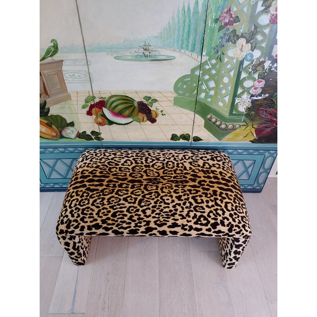 Wood 1980s Vintage Karl Springer Style Velvet Leopard Waterfall Bench For Sale - Image 7 of 9