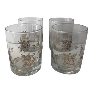 Culver Gold Snowflake Glasses - Set of 4 For Sale