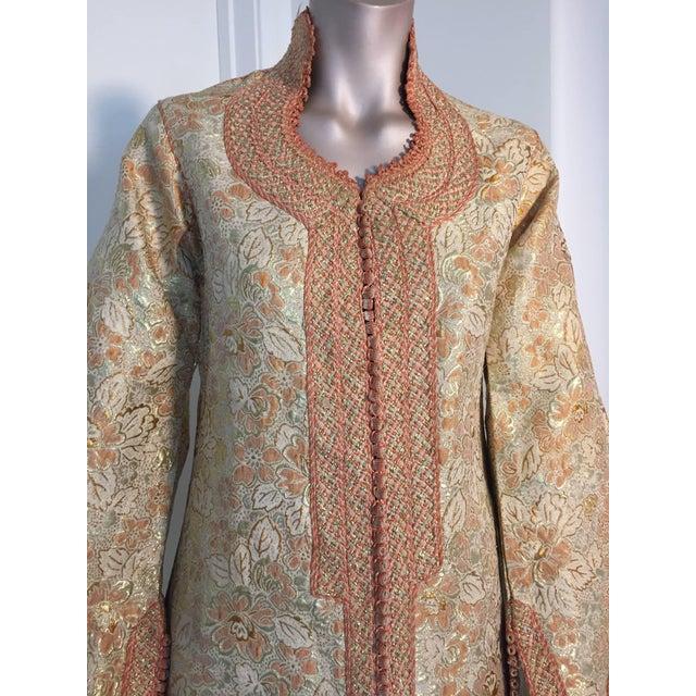 1970s Moroccan Caftan Gold Brocade Maxi Dress Kaftan For Sale - Image 4 of 10