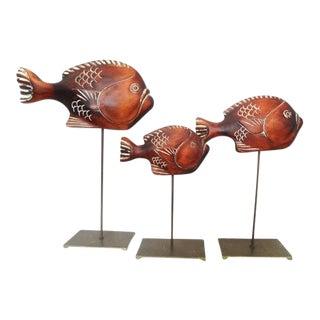 1977 Sarreid Ltd. Nautical Wooden Fish Sculptures - Set of 3 For Sale