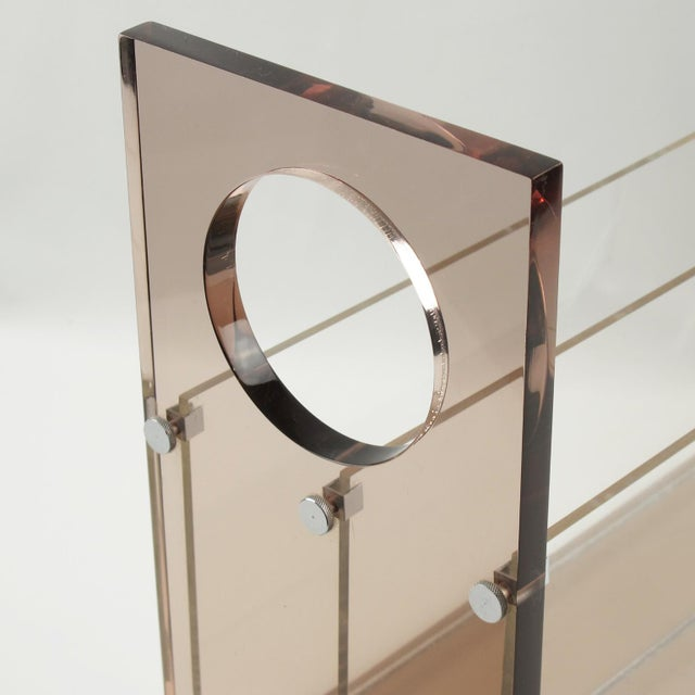 Roche Bobois Roche Bobois France 1970s Smoked Gray Lucite Magazine Rack Stand For Sale - Image 4 of 9