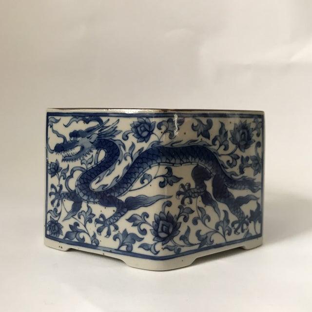 Blue & White Porcelain Vessel For Sale - Image 9 of 11