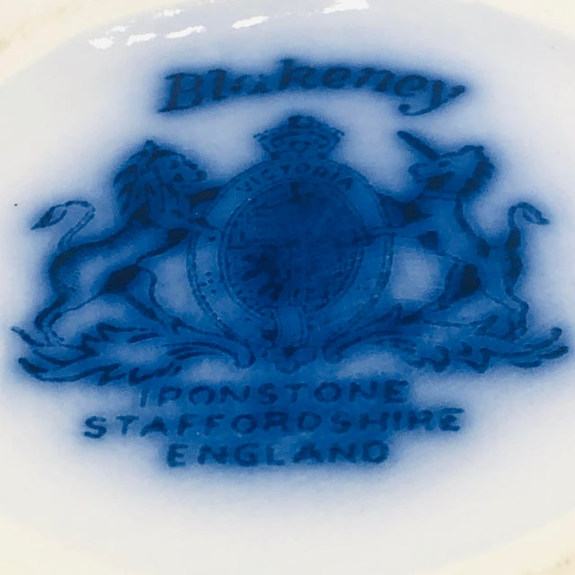 Ceramic Antique Flow Blue Staffordshire Ironstone BlackBerry Pattern Pitcher For Sale - Image 7 of 8