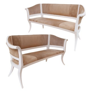 Custom Suede Upholstered Settees For Sale