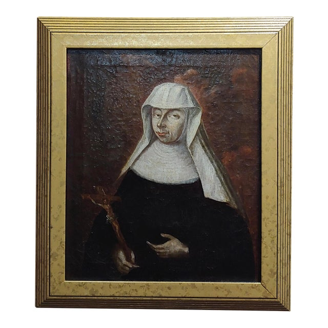 17th Century Italian Old Master -Portrait of a Nun - Oil Painting For Sale