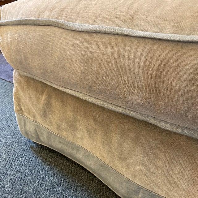 Baker Furniture Custom Velvet + Linen Trimmed Loveseat For Sale - Image 11 of 12