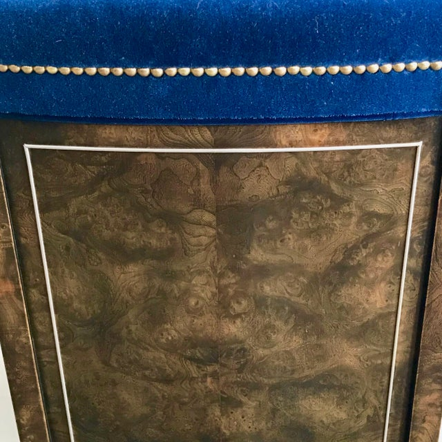 Mid-Century Modern Blue Velvet Dining Chairs - Set of 4 For Sale - Image 10 of 11