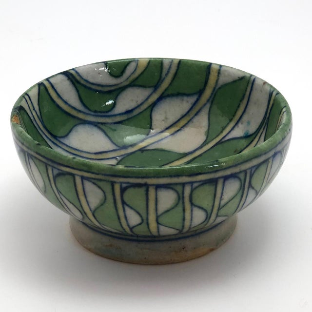 Ceramic Early 20th Century Green and White Patterned Tin Glazed Small Ceramic Bowl For Sale - Image 7 of 13