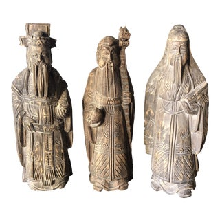 Collection of Wooden Asian Figures- Set of 3 For Sale