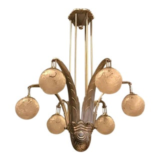 Large French Art Deco Chandelier Signed by Muller Freres Luneville For Sale