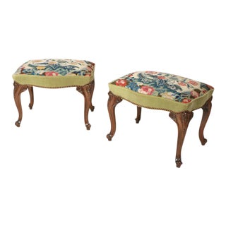 Pair of George II Small Benches with Needlework Seats