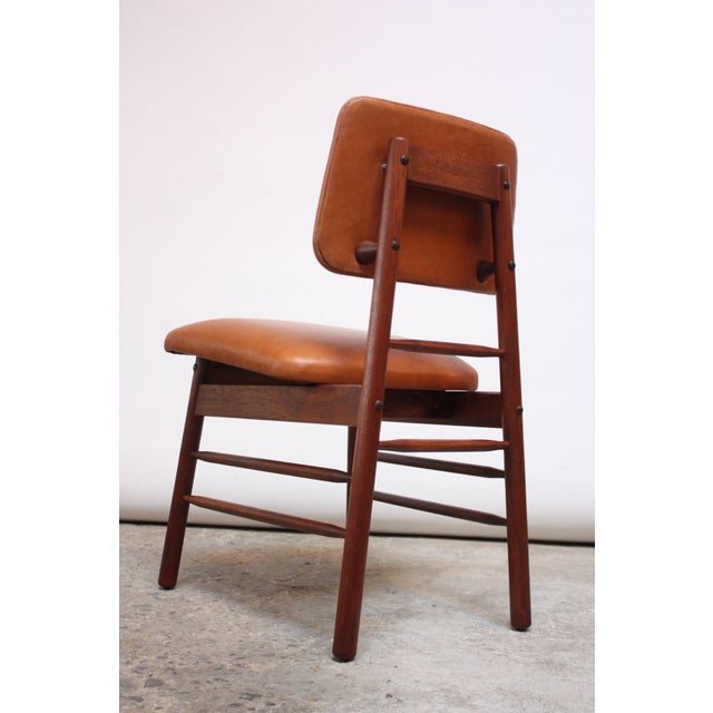 Set of Ten Walnut and Leather Dining Chairs by Greta Grossman For Sale - Image 11 of 13